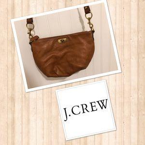 J. Crew Tan mini clasp cross body purse